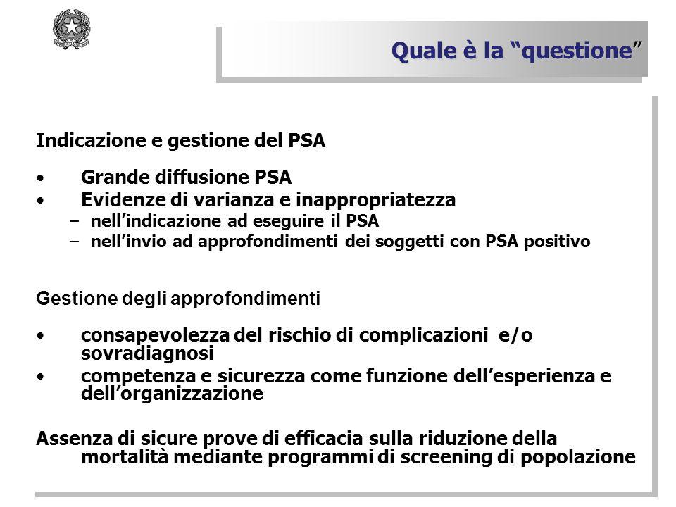 Indicazione e gestione del PSA Grande diffusione PSA Evidenze di varianza e inappropriatezza –nell'indicazione ad eseguire il PSA –nell'invio ad appro