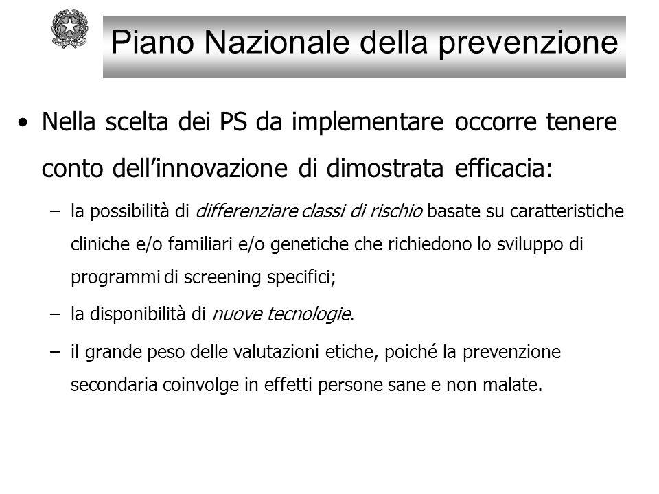 Piano Nazionale della prevenzione Nella scelta dei PS da implementare occorre tenere conto dell'innovazione di dimostrata efficacia: –la possibilità d