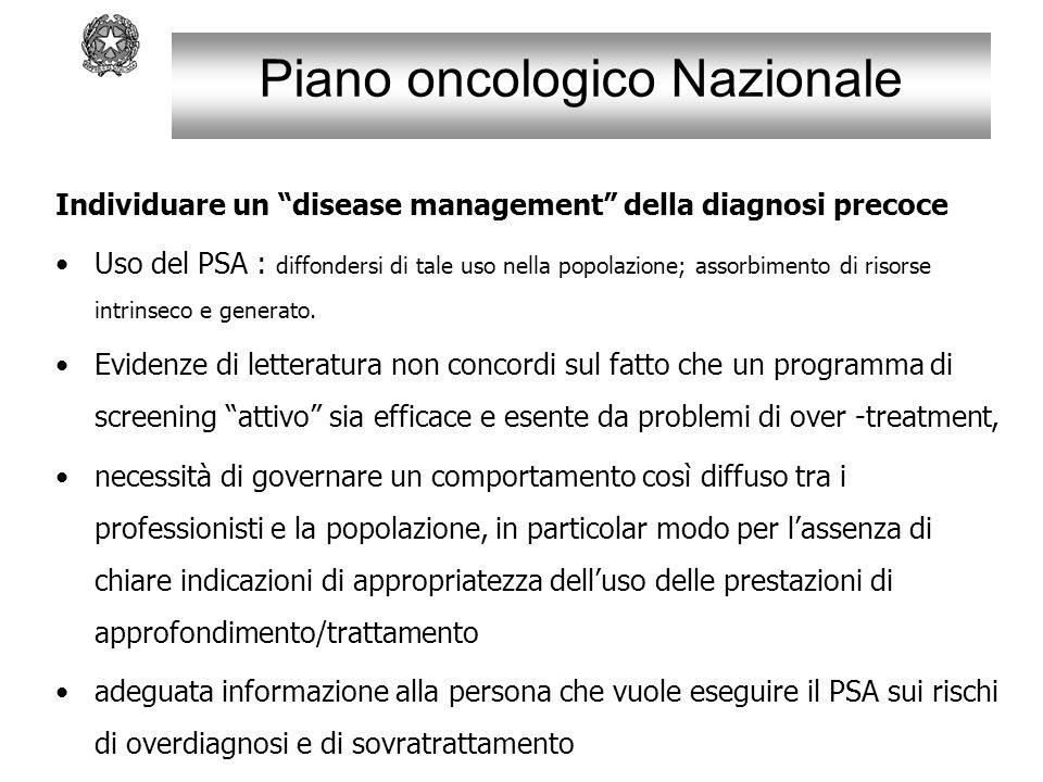 """Piano oncologico Nazionale Individuare un """"disease management"""" della diagnosi precoce Uso del PSA : diffondersi di tale uso nella popolazione; assorbi"""