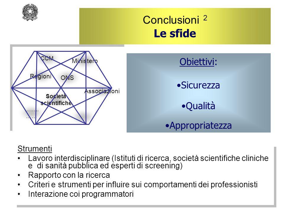 Conclusioni 2 Le sfide Strumenti Lavoro interdisciplinare (Istituti di ricerca, società scientifiche cliniche e di sanità pubblica ed esperti di scree