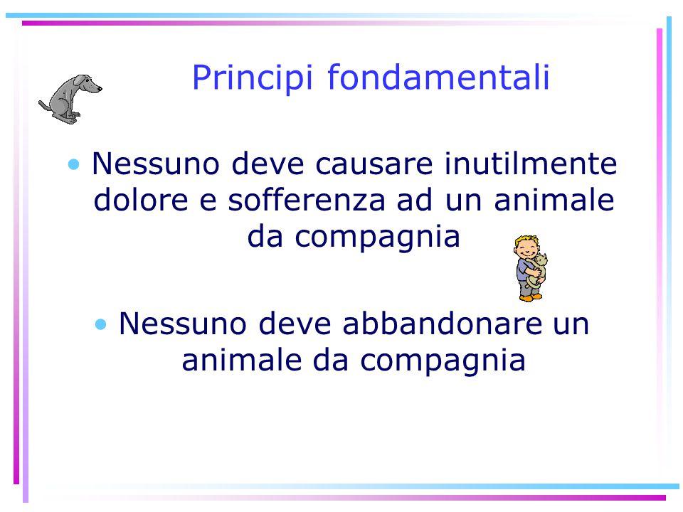 Principi fondamentali Nessuno deve causare inutilmente dolore e sofferenza ad un animale da compagnia Nessuno deve abbandonare un animale da compagnia