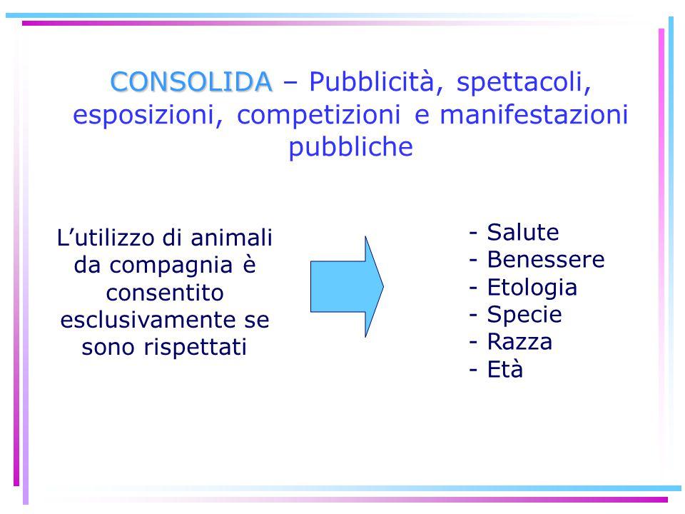 L'utilizzo di animali da compagnia è consentito esclusivamente se sono rispettati - Salute - Benessere - Etologia - Specie - Razza - Età CONSOLIDA CON