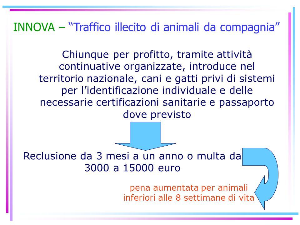 """INNOVA – """"Traffico illecito di animali da compagnia"""" Chiunque per profitto, tramite attività continuative organizzate, introduce nel territorio nazion"""