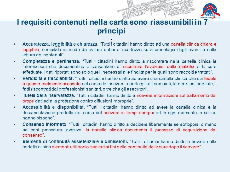 """I requisiti contenuti nella carta sono riassumibili in 7 principi : Accuratezza, leggibilità e chiarezza. """"Tutti i cittadini hanno diritto ad una cart"""