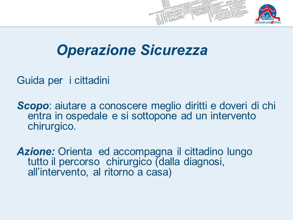 Guida per i cittadini Scopo: aiutare a conoscere meglio diritti e doveri di chi entra in ospedale e si sottopone ad un intervento chirurgico. Azione: