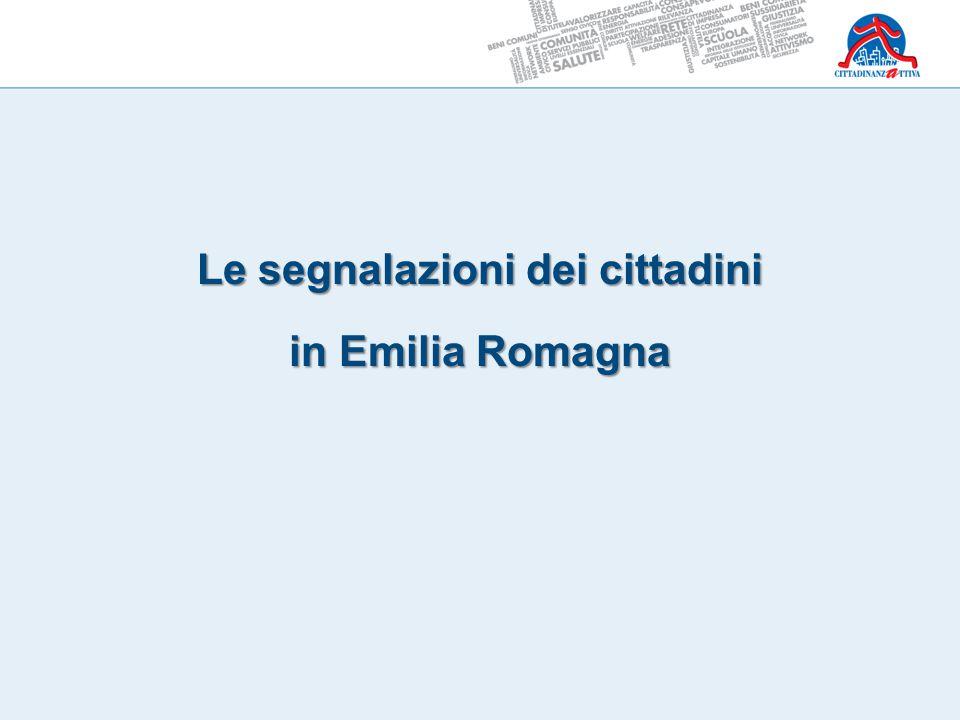 Segnalazioni Cittadinanzattiva Emilia Romagna totale segnalazioni relative al 2013 = 1.563 Fonte Cittadinanzattiva Emilia Romagna – anno 2013