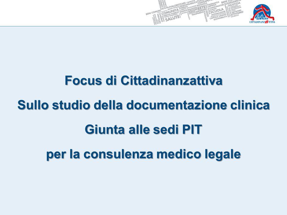 Focus di Cittadinanzattiva Sullo studio della documentazione clinica Giunta alle sedi PIT per la consulenza medico legale