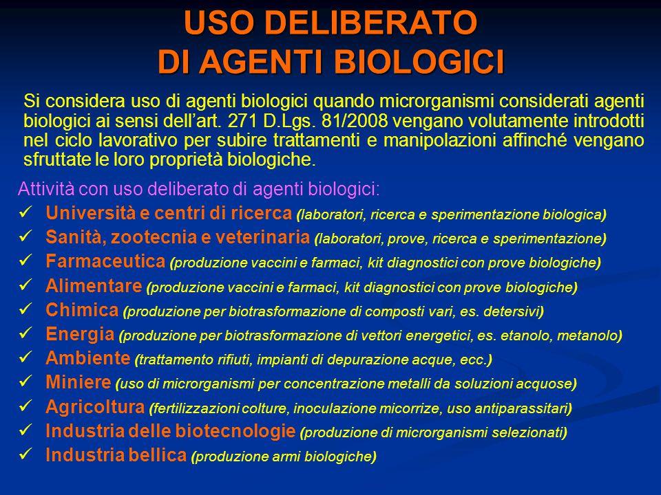 USO DELIBERATO DI AGENTI BIOLOGICI Si considera uso di agenti biologici quando microrganismi considerati agenti biologici ai sensi dell'art. 271 D.Lgs