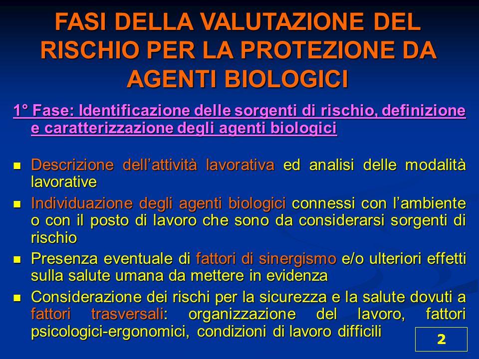 1° Fase: Identificazione delle sorgenti di rischio, definizione e caratterizzazione degli agenti biologici Descrizione dell'attività lavorativa ed ana