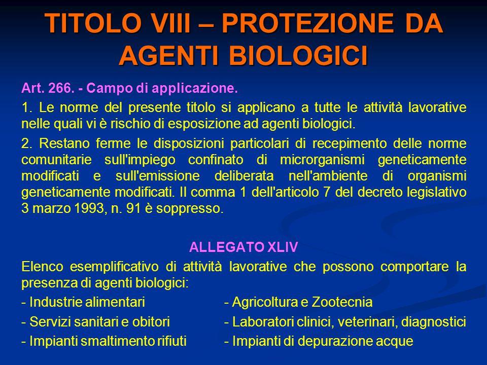 TITOLO VIII – PROTEZIONE DA AGENTI BIOLOGICI Art. 266. - Campo di applicazione. 1. Le norme del presente titolo si applicano a tutte le attività lavor