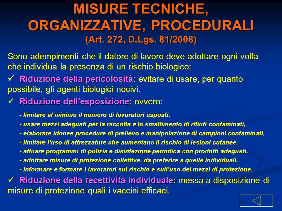 MISURE TECNICHE, ORGANIZZATIVE, PROCEDURALI (Art. 272, D.Lgs. 81/2008) Sono adempimenti che il datore di lavoro deve adottare ogni volta che individua
