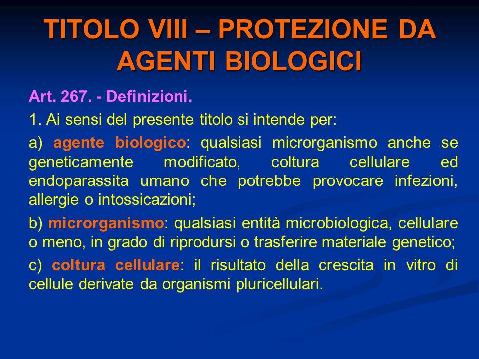 TITOLO VIII – PROTEZIONE DA AGENTI BIOLOGICI Art. 267. - Definizioni. 1. Ai sensi del presente titolo si intende per: a) agente biologico: qualsiasi m