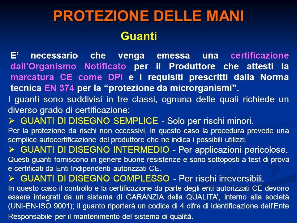 Guanti E' necessario che venga emessa una certificazione dall'Organismo Notificato per il Produttore che attesti la marcatura CE come DPI e i requisit