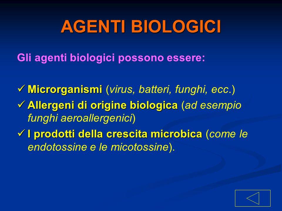 AGENTI BIOLOGICI Gli agenti biologici possono essere: Microrganismi Microrganismi (virus, batteri, funghi, ecc.) Allergeni di origine biologica Allerg