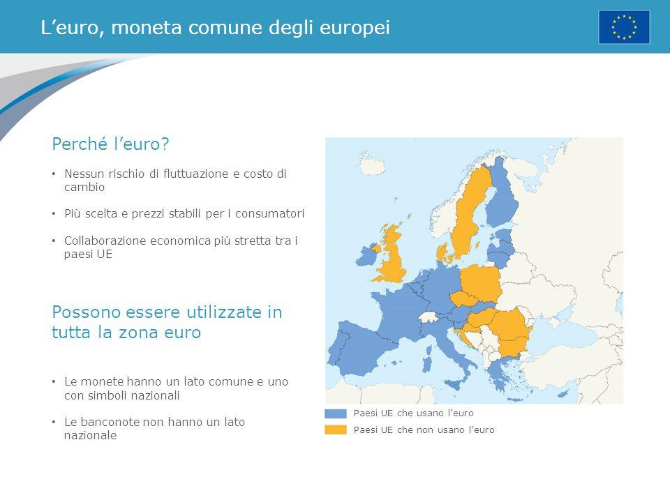 L'euro, moneta comune degli europei Paesi UE che usano l'euro Paesi UE che non usano l'euro Perché l'euro? Nessun rischio di fluttuazione e costo di c