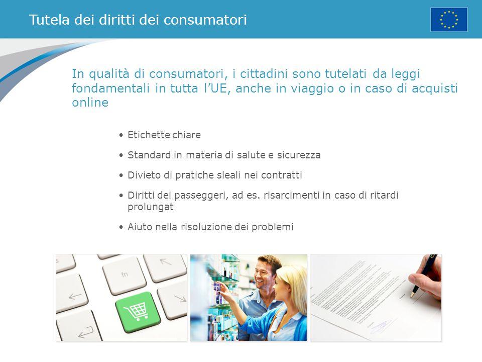 Tutela dei diritti dei consumatori Etichette chiare Standard in materia di salute e sicurezza Divieto di pratiche sleali nei contratti Diritti dei pas
