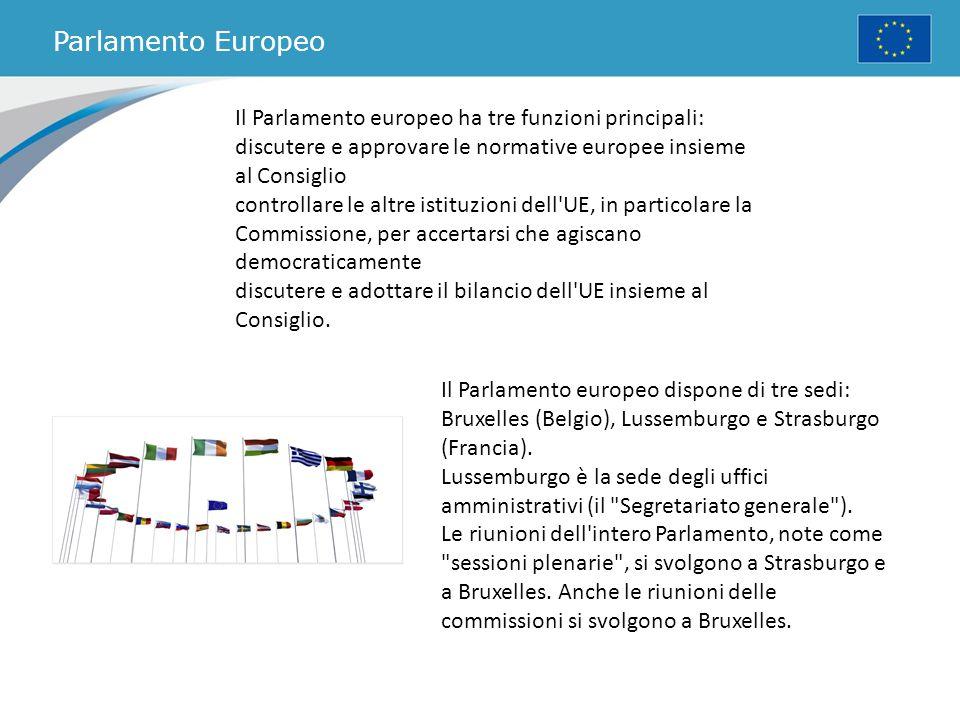 Parlamento Europeo Il Parlamento europeo ha tre funzioni principali: discutere e approvare le normative europee insieme al Consiglio controllare le al