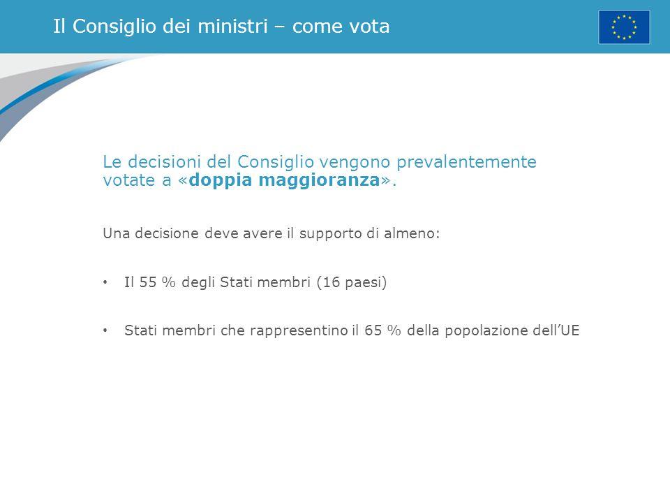 Il Consiglio dei ministri – come vota Le decisioni del Consiglio vengono prevalentemente votate a «doppia maggioranza». Una decisione deve avere il su
