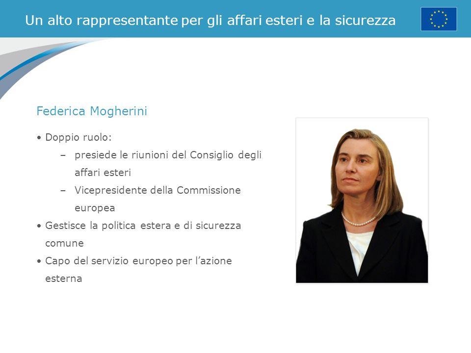 Un alto rappresentante per gli affari esteri e la sicurezza Doppio ruolo: –presiede le riunioni del Consiglio degli affari esteri –Vicepresidente dell