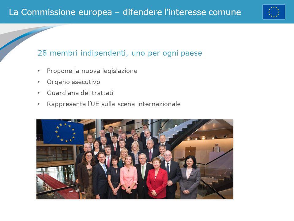 La Commissione europea – difendere l'interesse comune 28 membri indipendenti, uno per ogni paese Propone la nuova legislazione Organo esecutivo Guardi