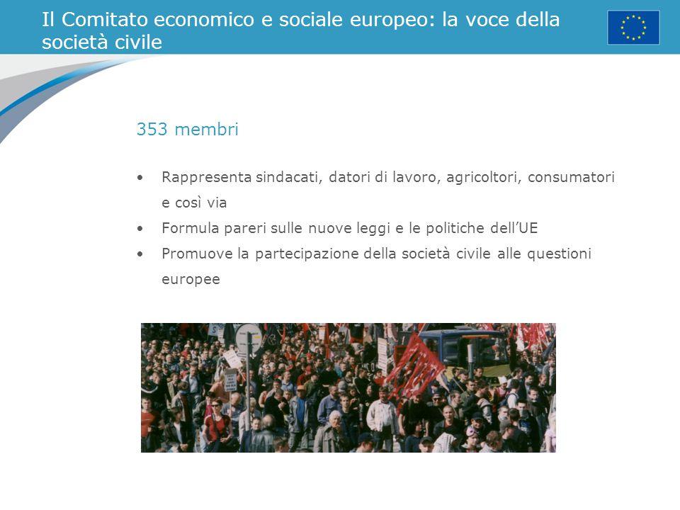 Il Comitato economico e sociale europeo: la voce della società civile Rappresenta sindacati, datori di lavoro, agricoltori, consumatori e così via For