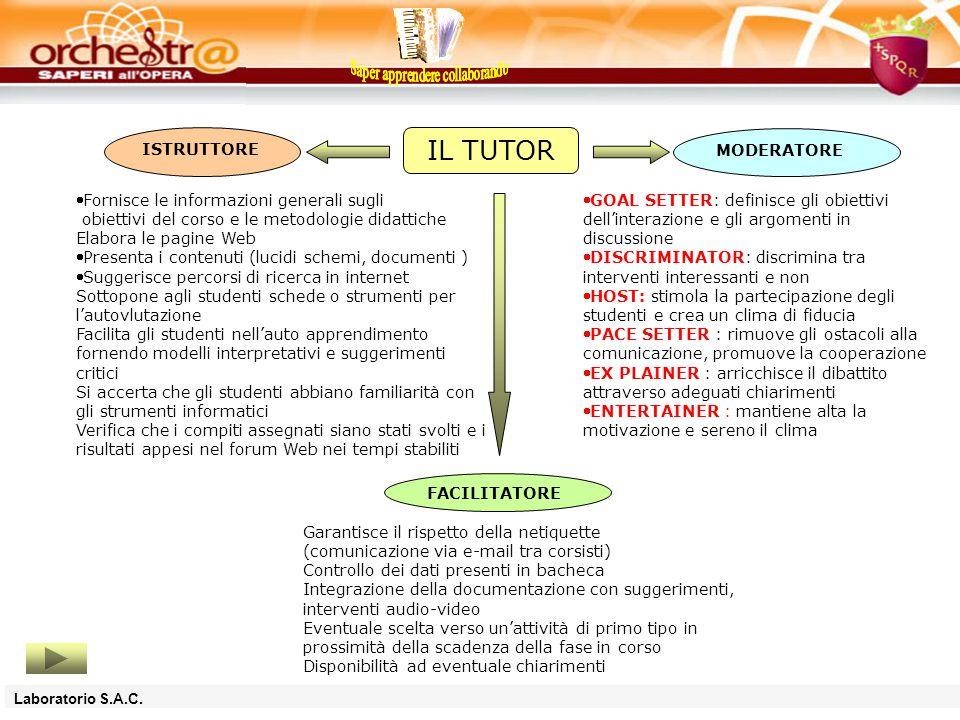 La figura del TUTOR rappresenta un elemnto cardine della formazione in rete: è il facilitatore che supporta l'allievo attraverso tutto il percorso formativo.