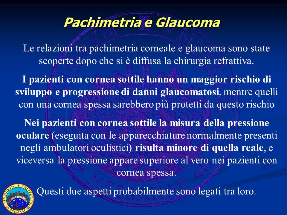 Le relazioni tra pachimetria corneale e glaucoma sono state scoperte dopo che si è diffusa la chirurgia refrattiva. I pazienti con cornea sottile hann