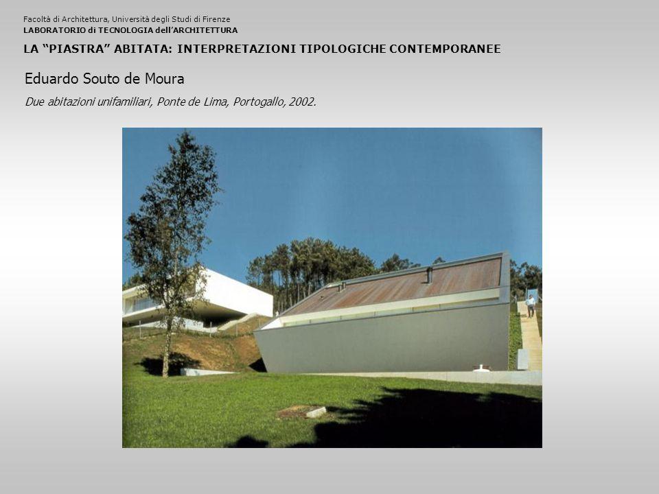 Facoltà di Architettura, Università degli Studi di FirenzeLABORATORIO di TECNOLOGIA dell'ARCHITETTURA LA PIASTRA ABITATA: INTERPRETAZIONI TIPOLOGICHE CONTEMPORANEE Due abitazioni unifamiliari, Ponte de Lima, Portogallo, 2002.