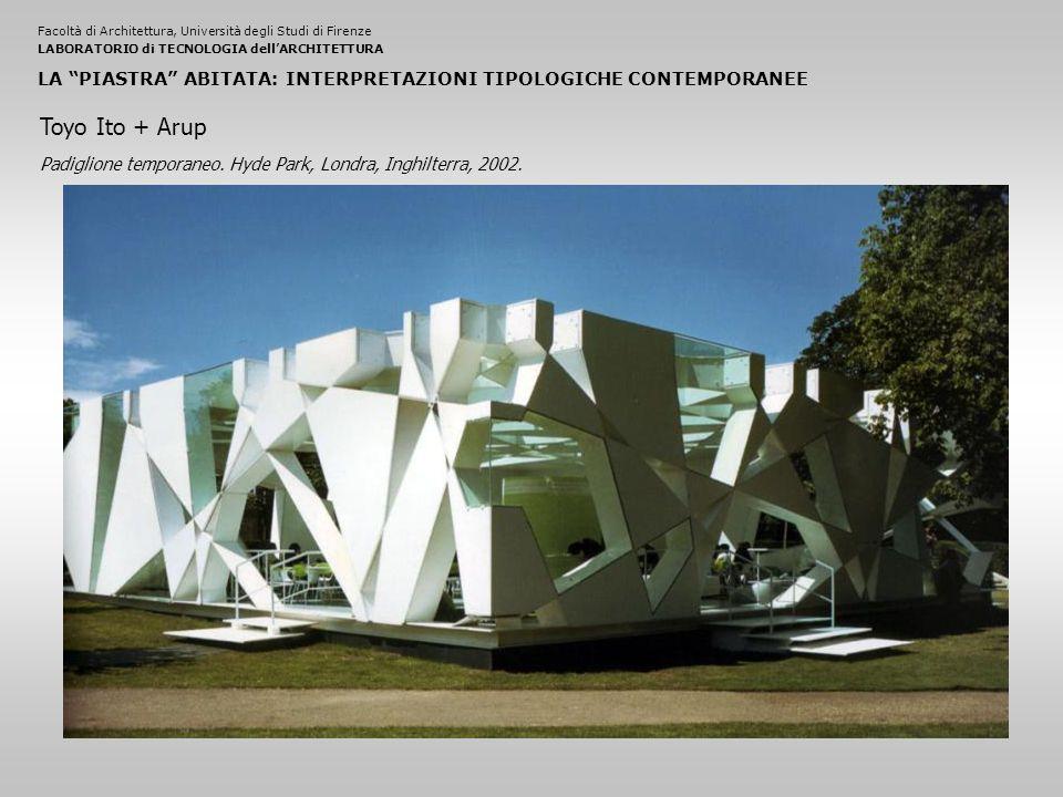Facoltà di Architettura, Università degli Studi di FirenzeLABORATORIO di TECNOLOGIA dell'ARCHITETTURA LA PIASTRA ABITATA: INTERPRETAZIONI TIPOLOGICHE CONTEMPORANEE Padiglione temporaneo.
