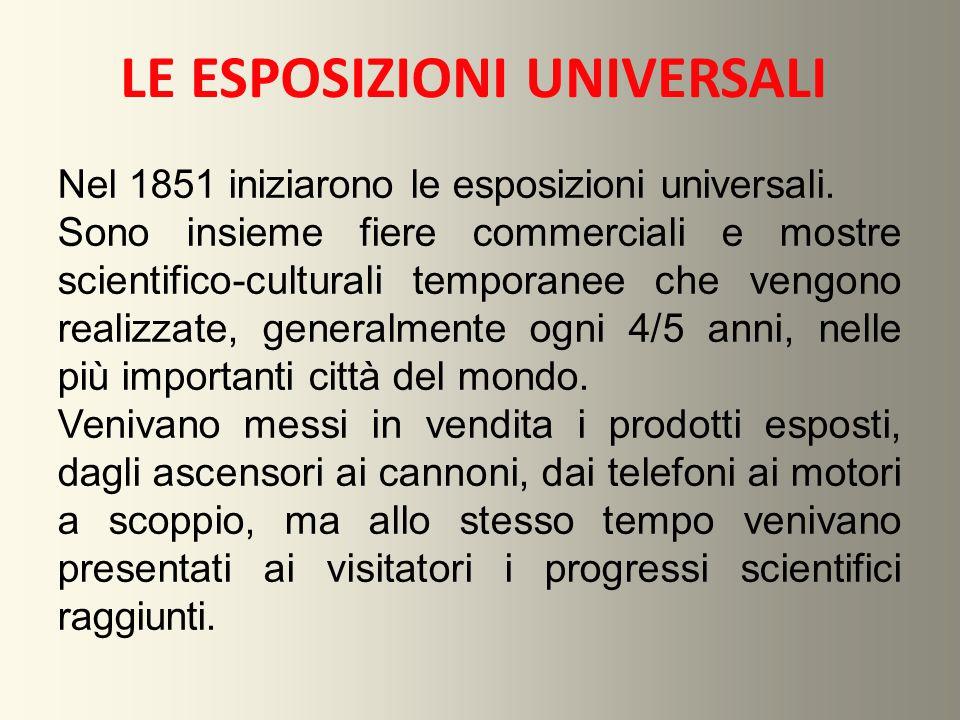 LE ESPOSIZIONI UNIVERSALI Nel 1851 iniziarono le esposizioni universali. Sono insieme fiere commerciali e mostre scientifico-culturali temporanee che