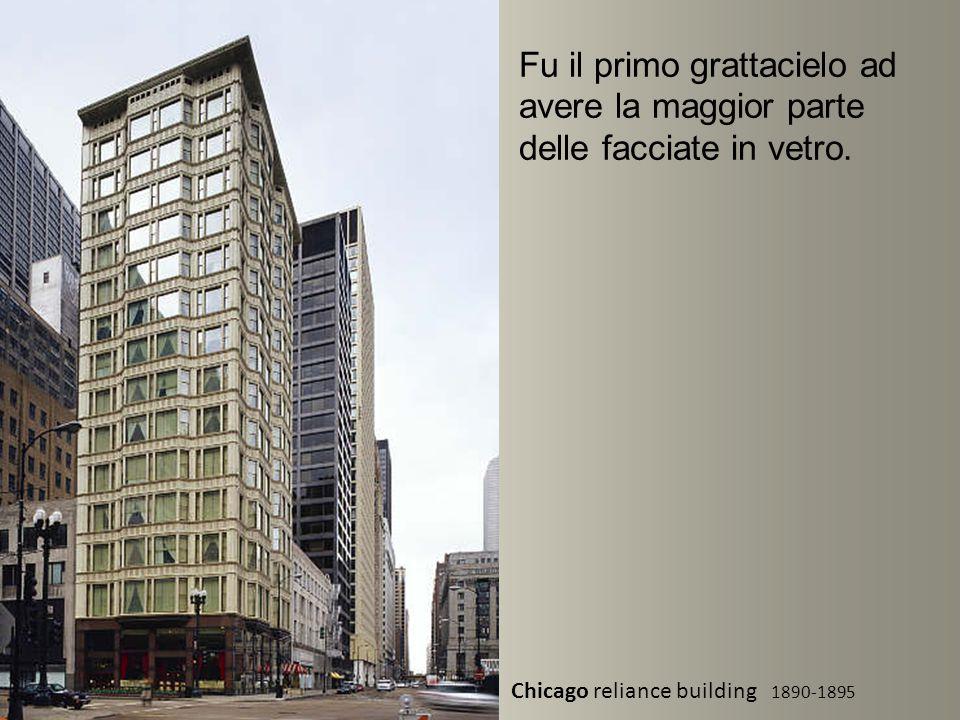 Chicago reliance building 1890-1895 Fu il primo grattacielo ad avere la maggior parte delle facciate in vetro.