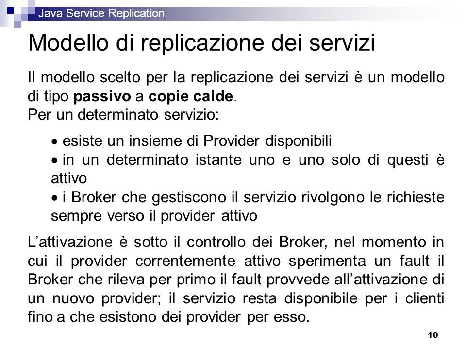 Java Service Replication 10 Modello di replicazione dei servizi Il modello scelto per la replicazione dei servizi è un modello di tipo passivo a copie calde.