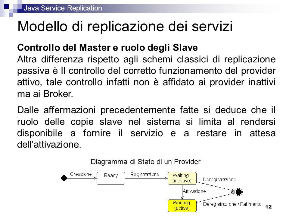 Java Service Replication 12 Modello di replicazione dei servizi Controllo del Master e ruolo degli Slave Altra differenza rispetto agli schemi classici di replicazione passiva è Il controllo del corretto funzionamento del provider attivo, tale controllo infatti non è affidato ai provider inattivi ma ai Broker.