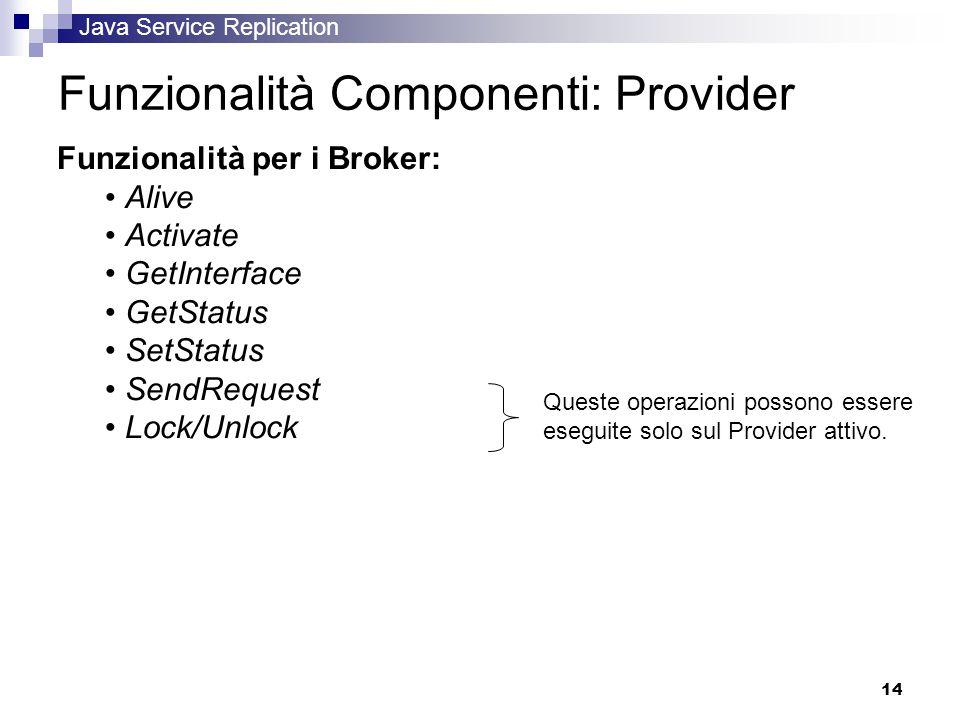 Java Service Replication 14 Funzionalità Componenti: Provider Funzionalità per i Broker: Alive Activate GetInterface GetStatus SetStatus SendRequest Lock/Unlock Queste operazioni possono essere eseguite solo sul Provider attivo.