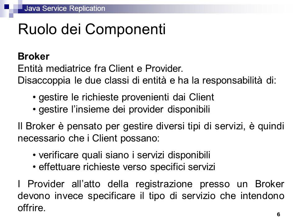Java Service Replication 6 Ruolo dei Componenti Broker Entità mediatrice fra Client e Provider.