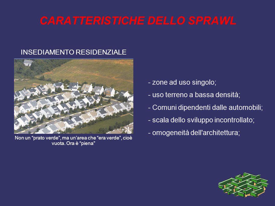 CARATTERISTICHE DELLO SPRAWL - zone ad uso singolo; - uso terreno a bassa densità; - Comuni dipendenti dalle automobili; - scala dello sviluppo incontrollato; - omogeneità dell architettura; INSEDIAMENTO RESIDENZIALE Non un prato verde , ma un'area che era verde , cioè vuota.