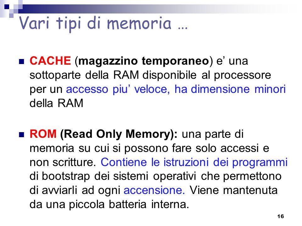 Vari tipi di memoria … CACHE (magazzino temporaneo) e' una sottoparte della RAM disponibile al processore per un accesso piu' veloce, ha dimensione mi