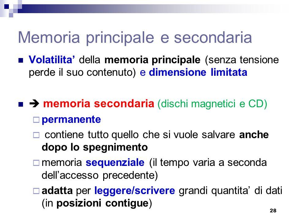 Memoria principale e secondaria Volatilita' della memoria principale (senza tensione perde il suo contenuto) e dimensione limitata  memoria secondari