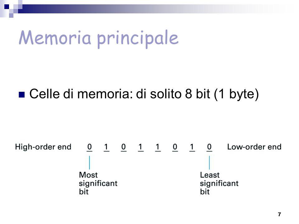 Memoria principale e secondaria Volatilita' della memoria principale (senza tensione perde il suo contenuto) e dimensione limitata  memoria secondaria (dischi magnetici e CD)  permanente  contiene tutto quello che si vuole salvare anche dopo lo spegnimento  memoria sequenziale (il tempo varia a seconda dell'accesso precedente)  adatta per leggere/scrivere grandi quantita' di dati (in posizioni contigue) 28