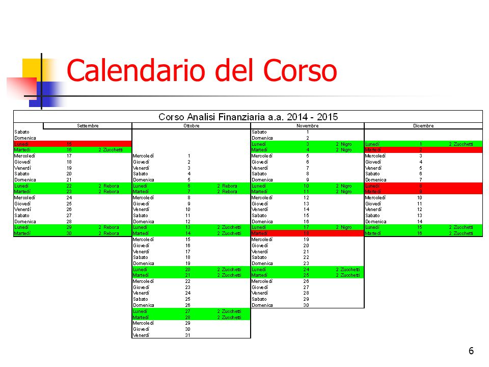 6 Calendario del Corso