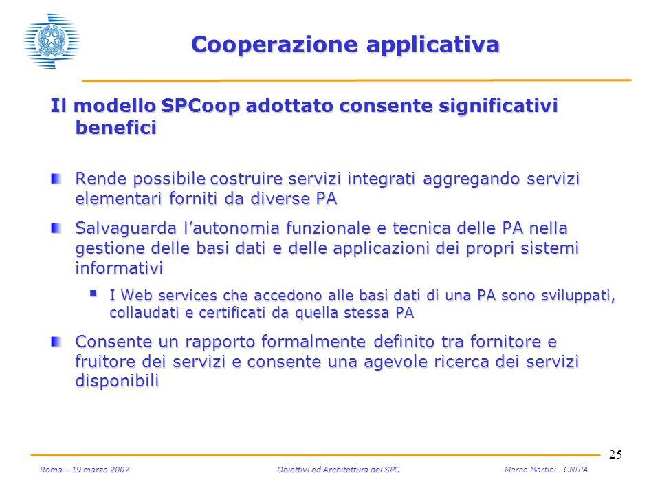 25 Roma – 19 marzo 2007 Obiettivi ed Architettura del SPC Roma – 19 marzo 2007 Obiettivi ed Architettura del SPC Marco Martini - CNIPA Cooperazione ap