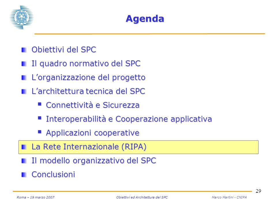 29 Roma – 19 marzo 2007 Obiettivi ed Architettura del SPC Roma – 19 marzo 2007 Obiettivi ed Architettura del SPC Marco Martini - CNIPA Agenda Obiettiv