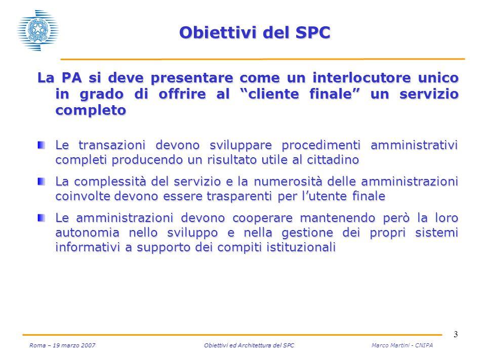 14 Roma – 19 marzo 2007 Obiettivi ed Architettura del SPC Roma – 19 marzo 2007 Obiettivi ed Architettura del SPC Marco Martini - CNIPA Connettività e sicurezza Il sistema SPC promuove inoltre l'impiego nelle PA della tecnologia VoIP Nell'offerta dei fornitori Q-ISP sono presenti anche servizi di fonia VoIP Si sta inoltre realizzando il Nodo di Interconnessione VoIP (NIV-SPC) per l'interfacciamento tra domini VoIP e l'erogazione centralizzata di servizi VoIP (IP Centrex) con il relativo instradamento delle chiamate verso la Rete Telefonica Pubblica (fissa e mobile).