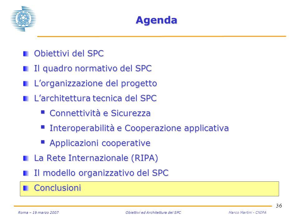 36 Roma – 19 marzo 2007 Obiettivi ed Architettura del SPC Roma – 19 marzo 2007 Obiettivi ed Architettura del SPC Marco Martini - CNIPA Agenda Obiettiv