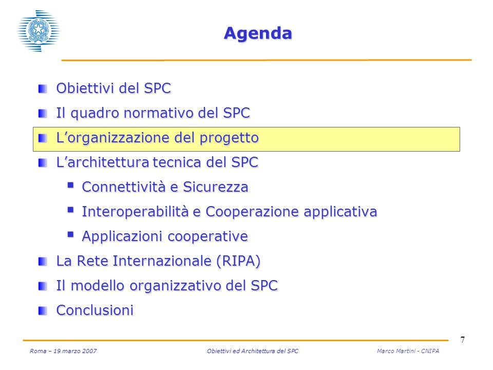 7 Roma – 19 marzo 2007 Obiettivi ed Architettura del SPC Roma – 19 marzo 2007 Obiettivi ed Architettura del SPC Marco Martini - CNIPA Agenda Obiettivi