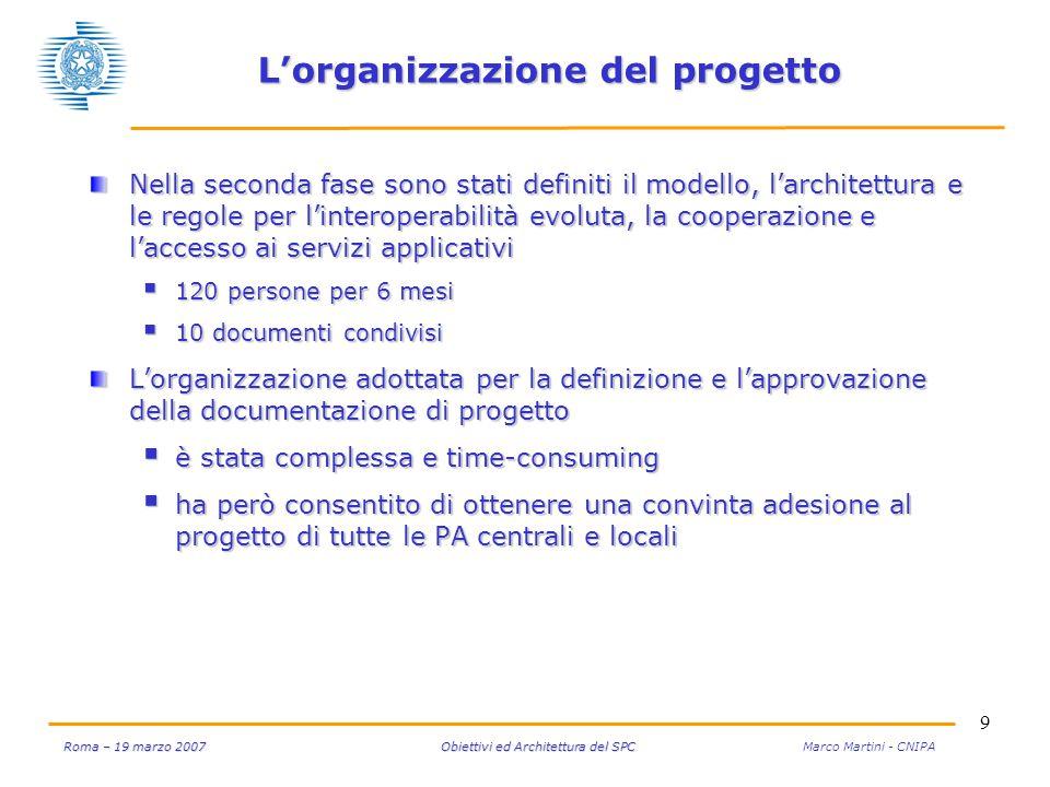 9 Roma – 19 marzo 2007 Obiettivi ed Architettura del SPC Roma – 19 marzo 2007 Obiettivi ed Architettura del SPC Marco Martini - CNIPA L'organizzazione