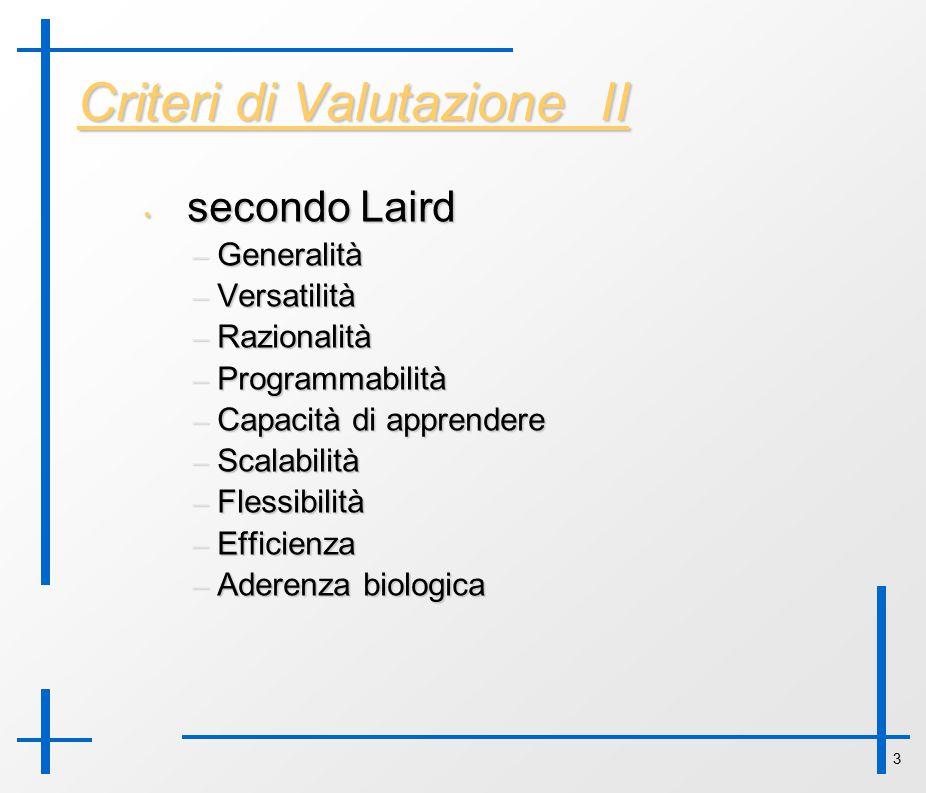 3 Criteri di Valutazione II secondo Laird secondo Laird – Generalità – Versatilità – Razionalità – Programmabilità – Capacità di apprendere – Scalabil
