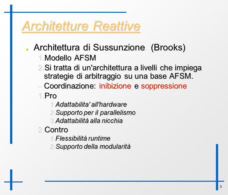 5 Architetture Reattive Architettura di Sussunzione (Brooks) 1. Modello AFSM 2. Si tratta di un'architettura a livelli che impiega strategie di arbit