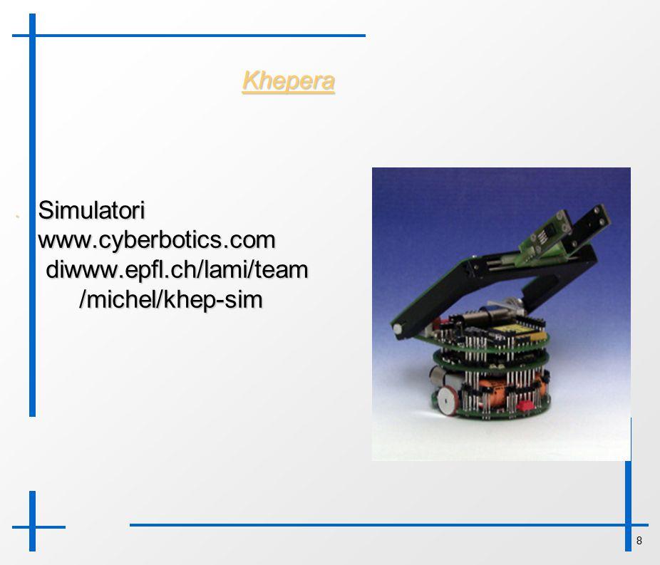 8 Khepera Simulatori www.cyberbotics.com diwww.epfl.ch/lami/team /michel/khep-sim Simulatori www.cyberbotics.com diwww.epfl.ch/lami/team /michel/khep-