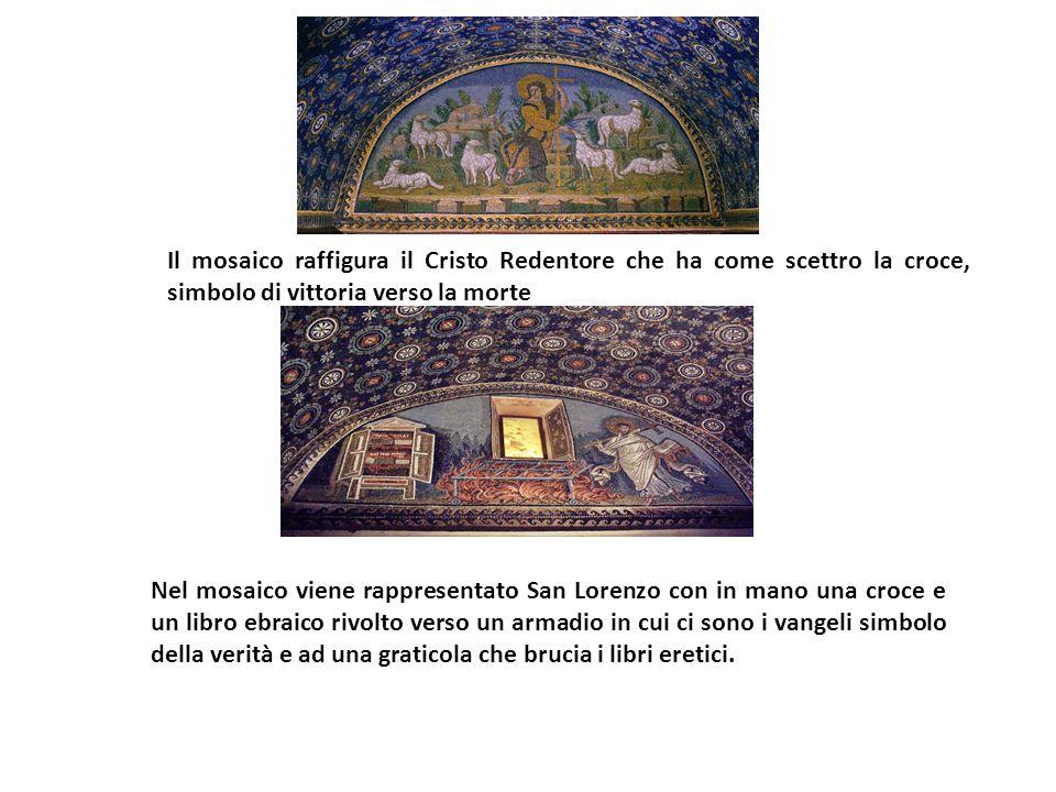 Il mosaico raffigura il Cristo Redentore che ha come scettro la croce, simbolo di vittoria verso la morte Nel mosaico viene rappresentato San Lorenzo